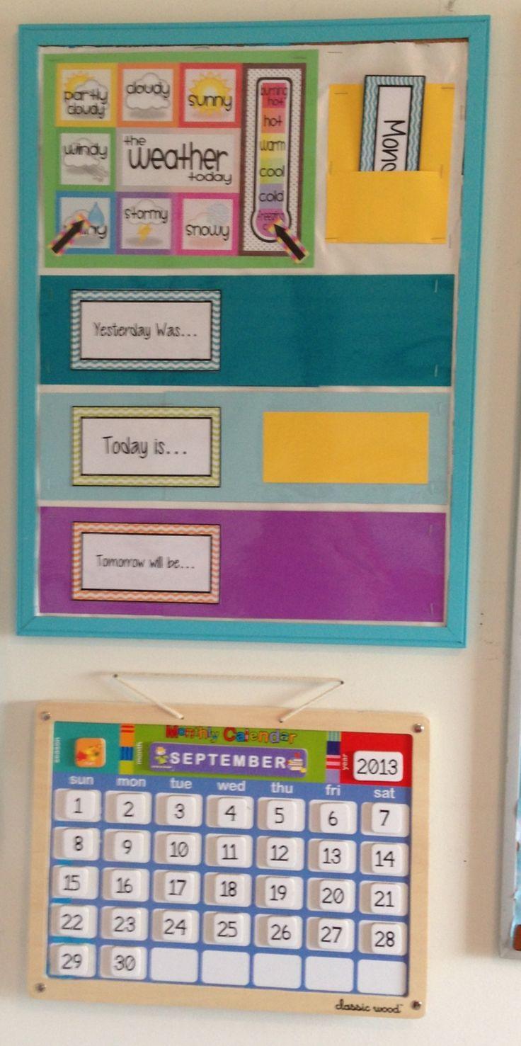 Homeschool classroom calendar and weather bulletin board.