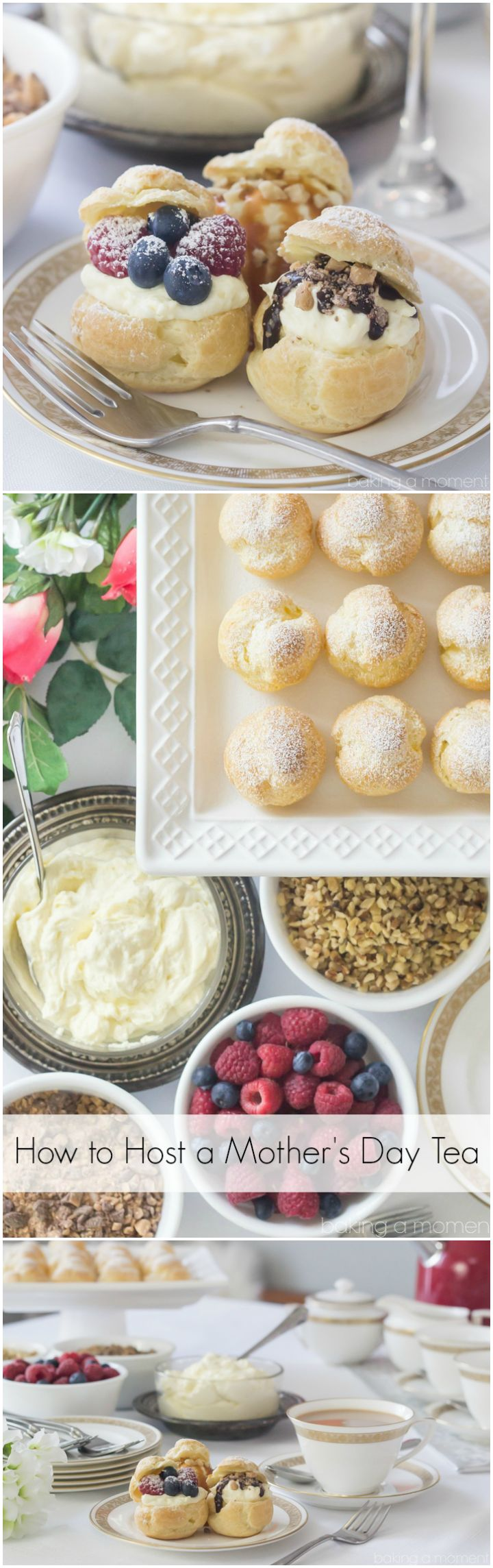 How to Host a Mother's Day Tea with a DIY Cream Puff Bar ~ http://bakingamoment.com @kitchenaidusa