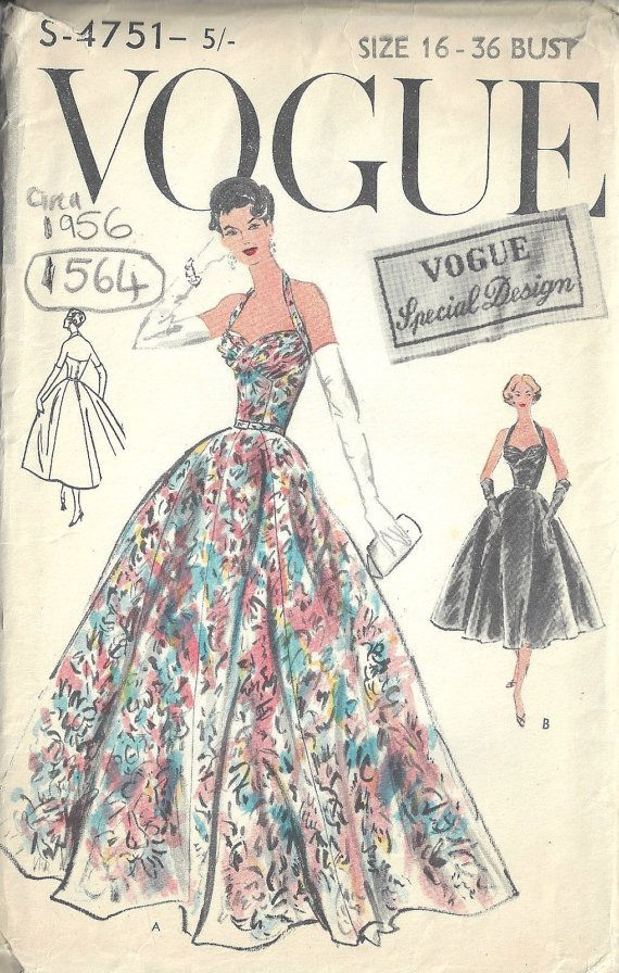1956 Vintage Vogue Sewing Pattern B36 Evening Dress By