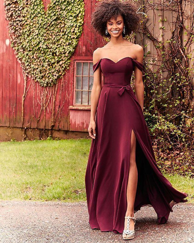 Bridesmaids Dress with Off-the-Shoulder V-neck | Morilee | Designer bridesmaid dresses, Chiffon bridesmaid, Chiffon bridesmaid dress