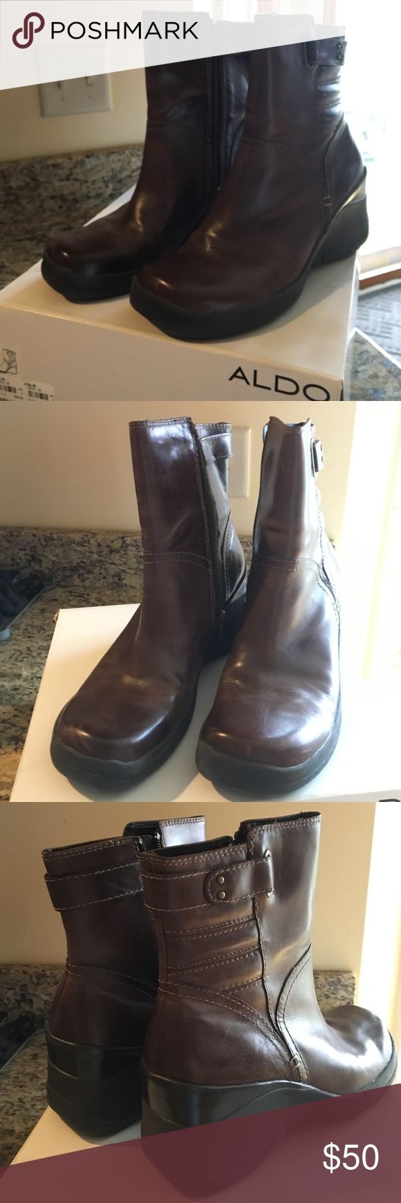 Aldo ladies Boots Ladies Leather wedge boots. Maybe used twice. Great condition. Zipper closure Aldo Shoes Ankle Boots & Booties