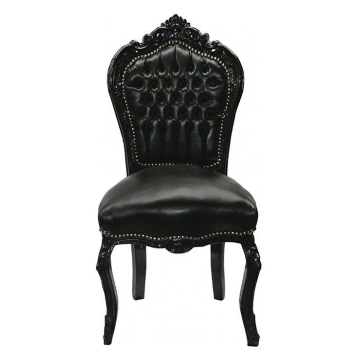 Chaise Baroque Noir Cuir Louis XV Simili Cuir Noir Salle À Manger Gothique | eBay