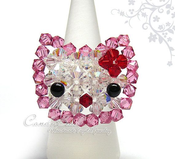 Swarovski ring Cutie Kitty Cat Ring R001-02 by candybead on Etsy