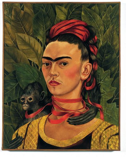 "Self portrait Frida Kahlo..in honor of International Women's Day    ""I paint self-portraits because I am so often alone, because I am the person I know best."" –Frida Kahlo"