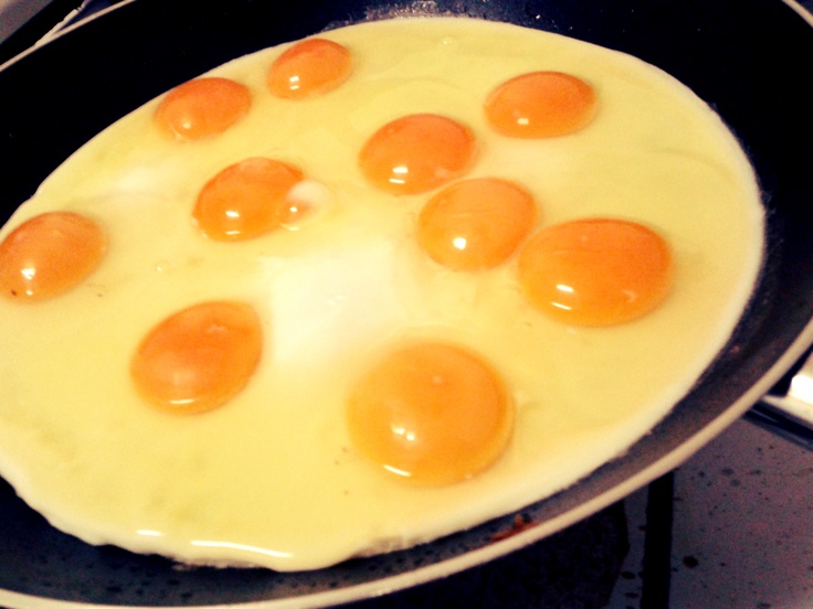 Some eggs in the pan
