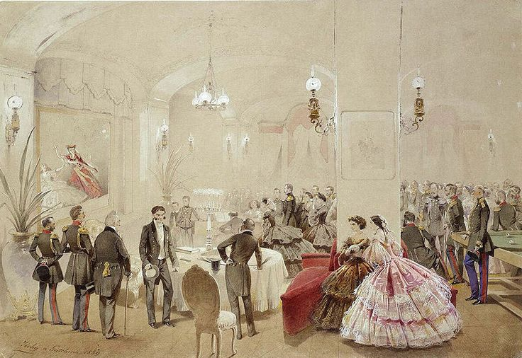 Alexander II with the courtiers in the Arsenal Hall of the Gatchina Palace, 24 October 1859 (Александр II с придворными в Арсенальном зале Гатчинского дворца) - Mihály Zichy