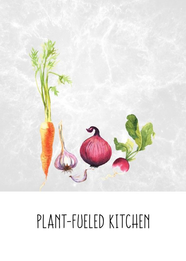 A poster for plant-fueled kitchens. Whole Food Plant Based. Vegan
