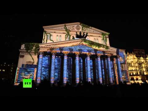 'Circle of Light': Stunning light show projected onto Bolshoi Theater (4K Ultra HD Quality 2160p)