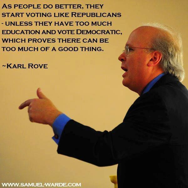 ~ yes, he actually said that! So, education & intelligence = vote democrat? I can live with that.