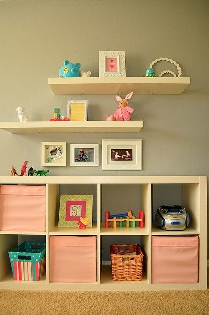 lovehis for kt with dollarstore mounted shelves with ike floating shelves Expedit + shelves. same thickness for both.