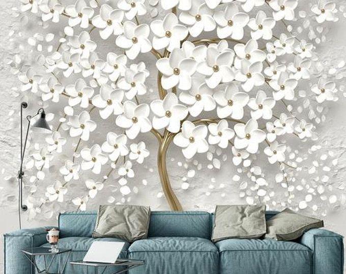 Simple Grey And White Color Wallpaper Wall Mural Lotus Floral Wall Mural Bedroom Living Room Wall Murals Wall Decor Wallpaper Modern Wall Wallpaper Custom Photo Wallpaper