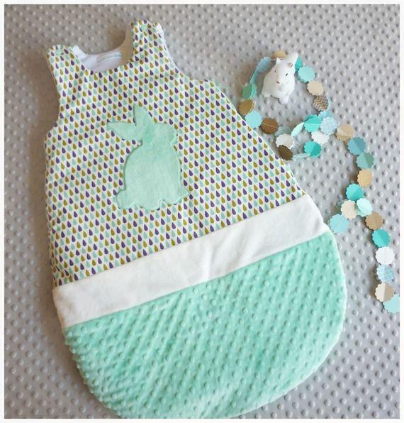 Gigoteuse bébé 6-18 mois goutte vert d'eau et prune motif lapin