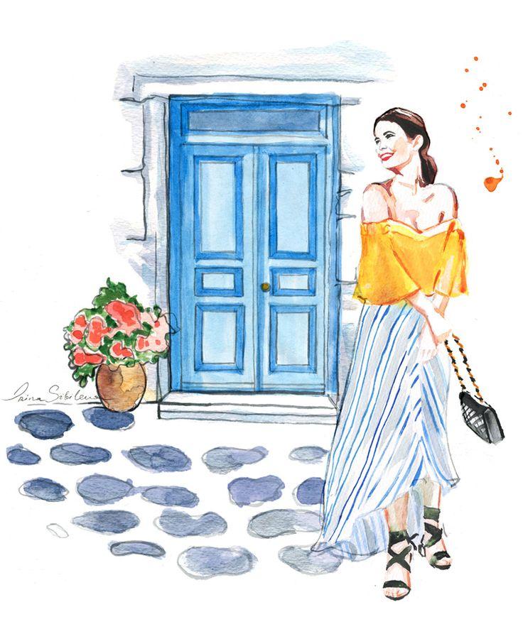 Mykonos Travel Guide, Mykonos Town Hora, Greece Islands, Cyclades #Mykonos #GreekIslands #GreeceVacation #travelillustration #Cyclades #travel #illustration #IrinaIllustration #IrinaSibileva #IrinaSibilevaTravels #MykonosTown #Hora #travelillustrator #lifewelltravelled #Greece #Greek #Islands #Santorini #beautifulislands #CondéNastTraveller #Mykonosguide #travelblog #travelblogger #travelcolorfully #dametraveler #passionpassport #tasteintravel #traveldeeper #lifestyleguide #summervacation