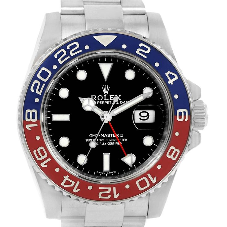 14837 Rolex GMT Master II 18K White Gold Pepsi Bezel Mens Watch 116719 SwissWatchExpo
