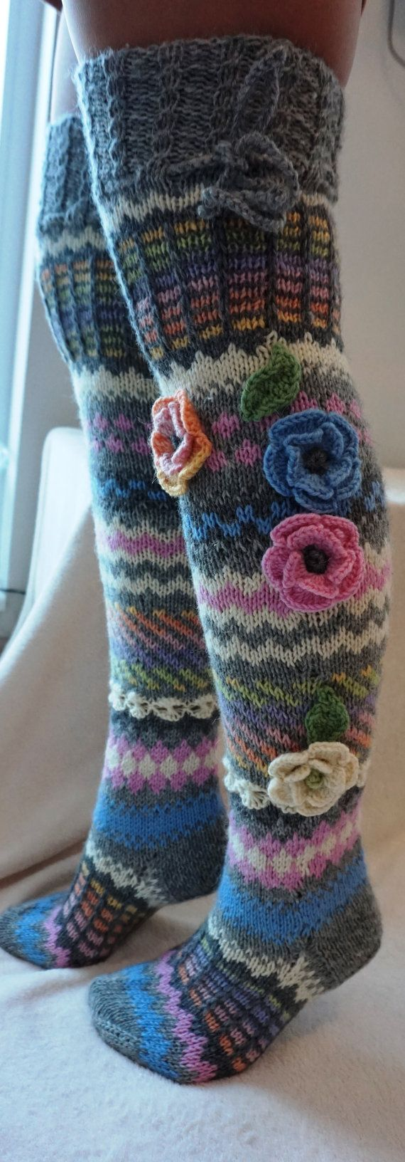Wool socks, Hand knit over knee socks, handknitted socks, flower knee socks, Flower socks, rainbow socks, woman leg warmers, Hand knit sock