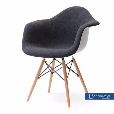 Krzesło tapicerowane do jadalni MPA WOOD tap czarne - Krzesła nowoczesne