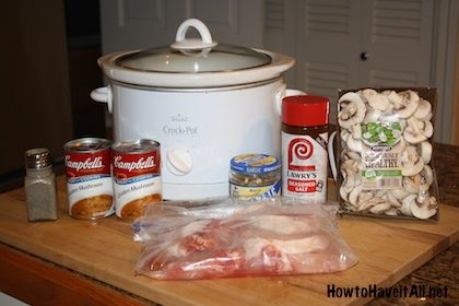 Smothered Pork Chops Slow Cooker Recipe. Perfect for your mushroom love :) @Anna Faunce Kirby