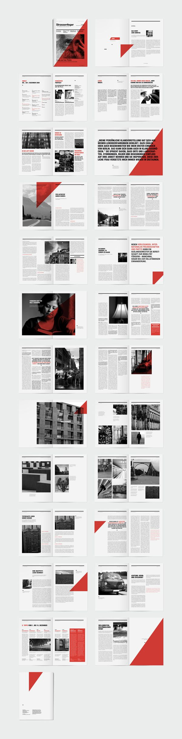 """The Strassenfeger is a Berlin-based Magazine sold by homeless people. I thought it would be fun to create an identity for them."" - Rene Bieder #identity #editorial"