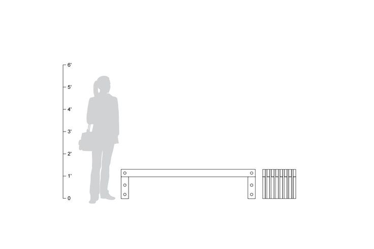 Hudson Bench, 6 foot, freestanding, shown to scale