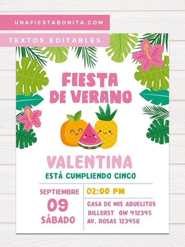 Invitación Para Imprimir Temática Frutas Tropicales