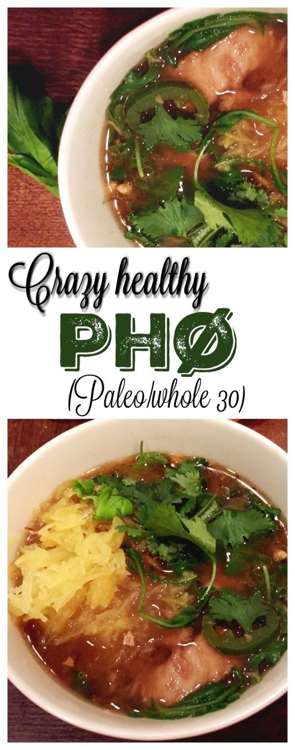 This crazy healthy recipe for paleo pho will make the perfect dinner even if you're on Whole30!  A bowl of this delicious soup can't be beat!