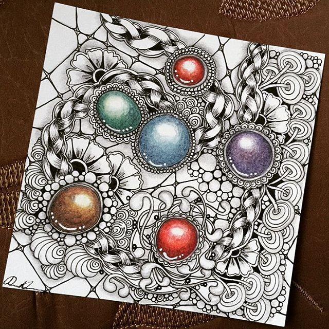 Zentangle Gems - ZIA111316. Artwork from Rebecca Kuan - #rebeccasecretbox Welcome to visit my FB Page: http://www.facebook.com/Rebecca.Zentanglebox/ #zia #zentangle #zendoodle #doodle #doodleart #draw #drawing #tangle #art #artwork #sketch #zengems #zentanglegems #gems #zentangleart #zentangleinspiration #learnzentangle #zenart #hearttangles