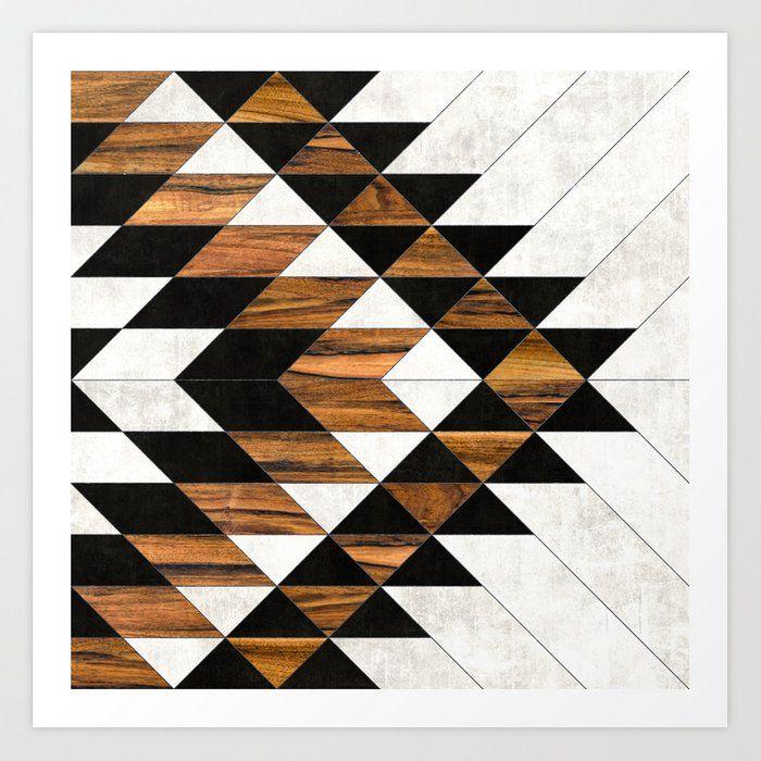 Urban Tribal Pattern No 9 Aztec Concrete And Wood Art Print By Zoltan Ratko X Small In 2020 Metal Art Prints Wood Canvas Print Wood Art