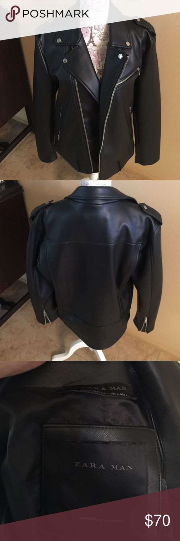 Mens Zara Faux Leather Jacket Size L Almost Brand New Mens Zara Faux Leather Motorcycle Jacket Size Large. Worn Once Absolutely No Stains Or Tears. Zara Jackets & Coats