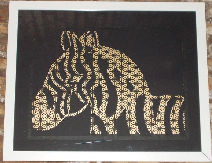 zebra. paper cutting. carta washi