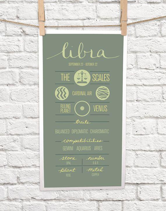 "LIBRA Zodiac Print, Poster, Illustration of Birth Sign, Wall Art, Decor, Constellation, ""LIBRA"" Birthday Design"