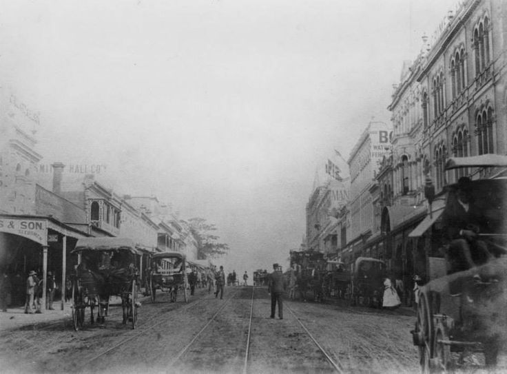 Looking south along Queen Street from between George and Albert Streets, Brisbane, 1886