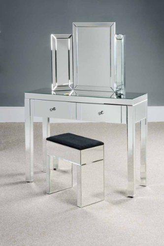 MY Furniture Coiffeuse MADISON en miroir gamme CHELSEA Finition miroir intégrale avec