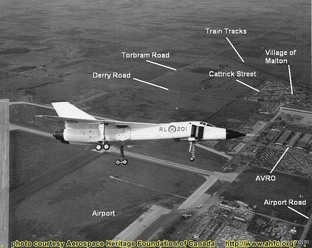 Avro Arrow RL-201 over Malton w labels by 3425Capricorn, via Flickr