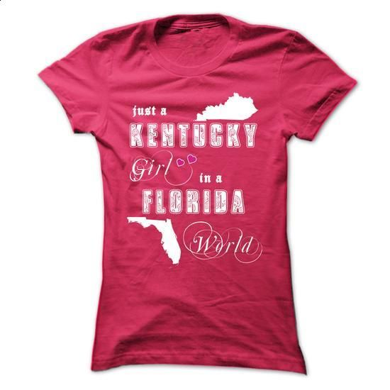 Kentucky Girl In A Florida World - #tshirt estampadas #under armour hoodie. PURCHASE NOW => https://www.sunfrog.com/States/Kentucky-Girl-In-A-Florida-World-qt6u-ladies.html?68278