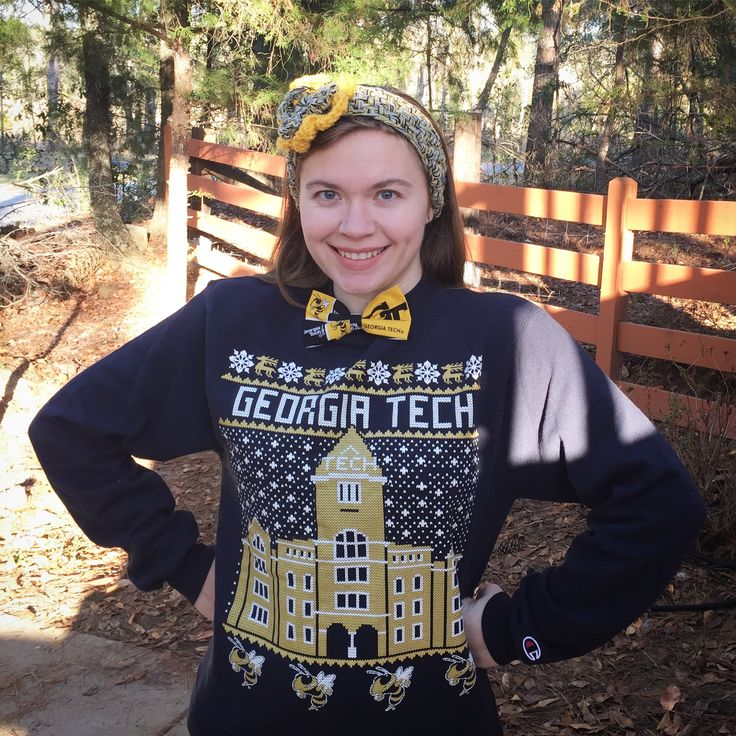 Georgia Tech vs uGA football game day vibes!   Loving my GT tacky / ugly / cute Christmas sweater featuring Tech Tower! Great way to show off that Yellow Jacket pride.  raineinthecity.com