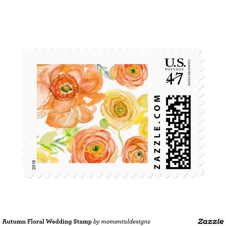 Autumn Floral Wedding Stamp