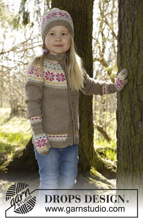 S27-5 Prairie Fairy jacket with round yoke and Norwegian pattern by DROPS DesignFree #knitting pattern
