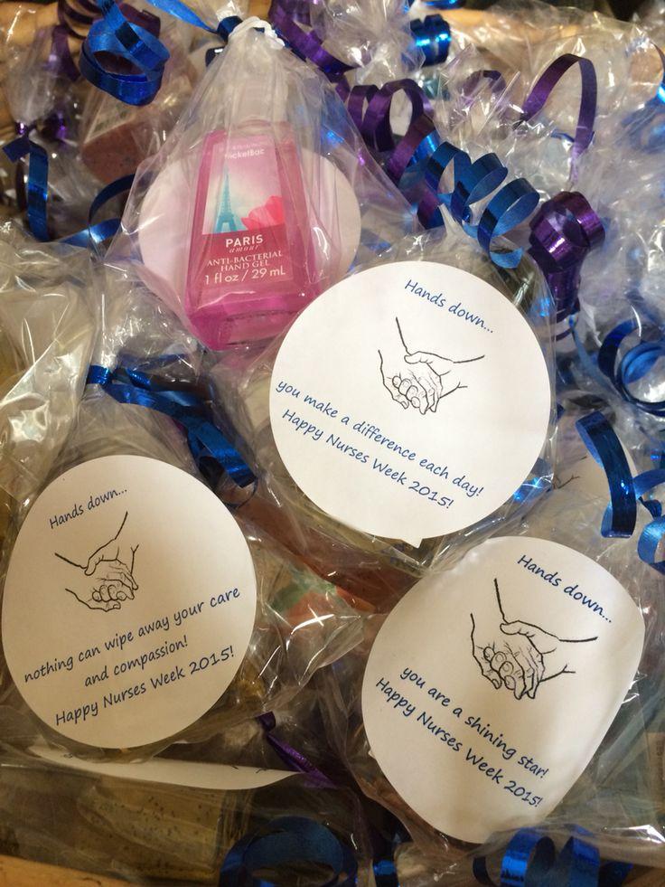 2015 nurse week gift for my staff!  Bath and body works hand sanitizer inside