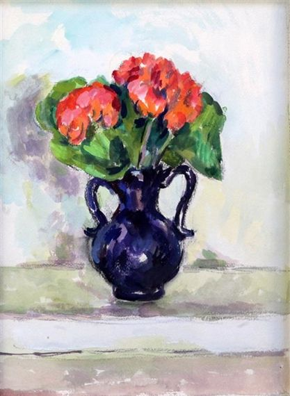 Duncan Grant - Geraniums in a Blue Vase; Circa 1960; watercolour and pencil on paper