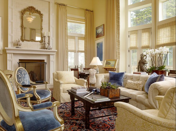 French Living Room Blue and Cream