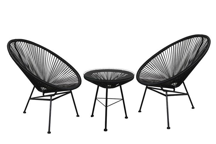 Replica Acapulco Lounge Chair Setting - Black - Here is the best selling Mexican inspired 1950's classic, The Replica Acapulco Lounge Chair and side table. How good would a set of two replica acapulco chairs and side table look around your current pool furniture or even inside as a groovy feature piece. Our Replica Acapulco Chair and Side Tables are made from powder coated steel thats been hand welded and then woven by skilled weavers using UV stable resin Wicker. Our side table also come…