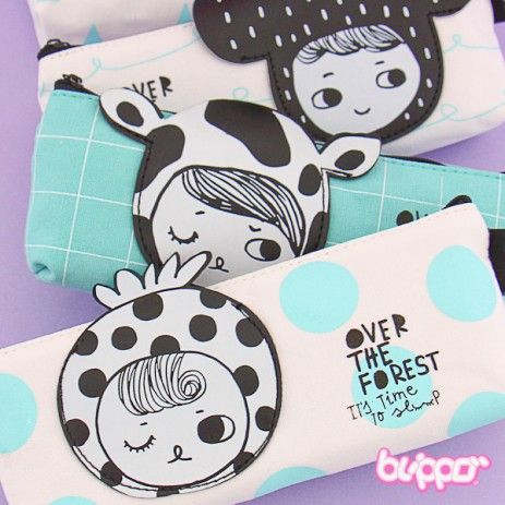 Buy Kawaii B&W Girl Pencil Case | Free Shipping | Blippo Kawaii Shop