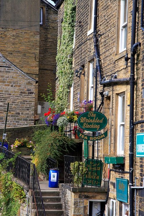 """Wrinkled Stocking Cafe This building was used as a film location for BBC TV's """"Last of the Summer Wine"""". A picture of: Holmfirth"""