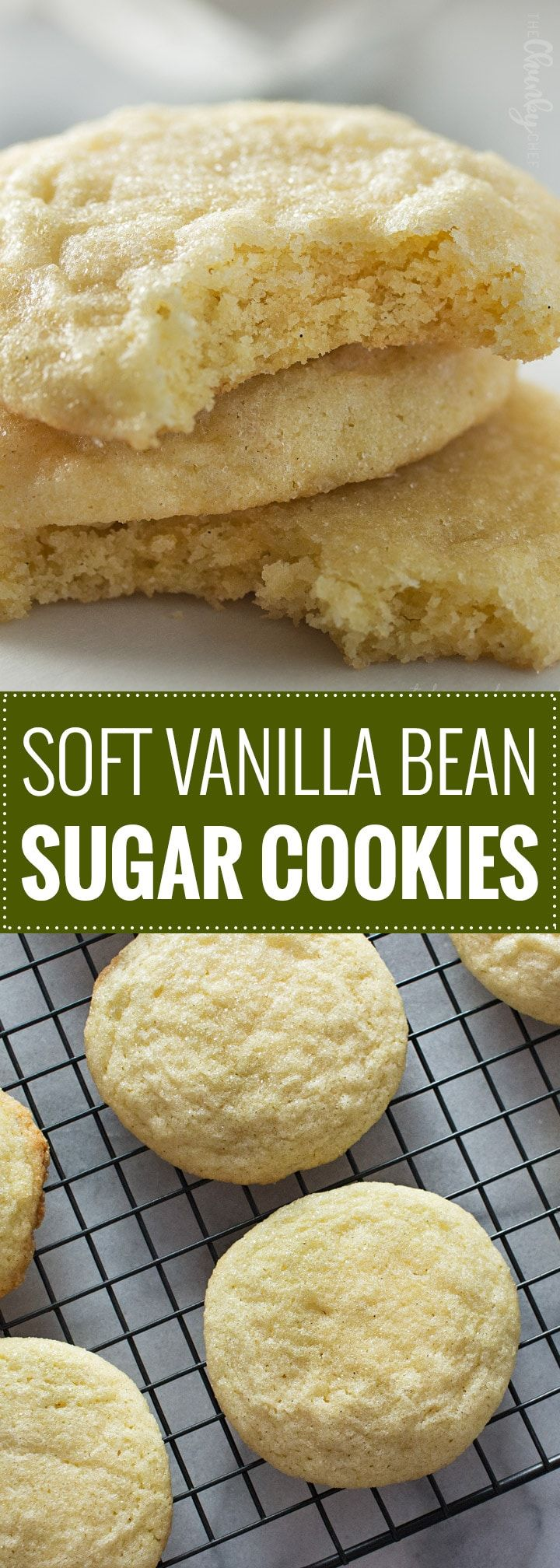 Soft Vanilla Bean Sugar Cookies | If you like soft and chewy sugar cookies, then this is THE recipe for you!  Rolled in granulated sugar, these thick cookies have a buttery richness and plenty of vanilla flavor. | The Chunky Chef | #sugarcookies #sugarcookierecipe #holidaybaking #softandchewy #Christmascookies