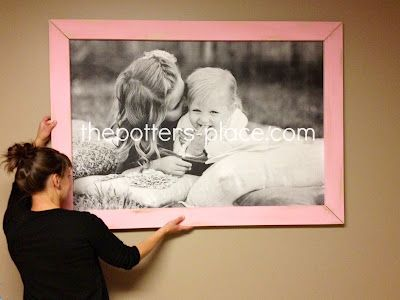 The Potter's Place: Big Picture Frame For Under $14Ideas, Black And White, Diy Gift, Girls Room, Big Pictures, Potter Places, Engineering Prints, Picture Frames, Pictures Frames