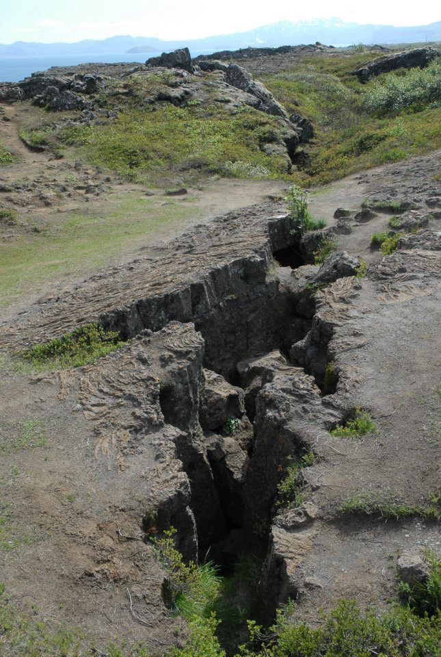 The crack that divides East from West. On one side is the North American Plate, on the other is the Eurasian Plate.