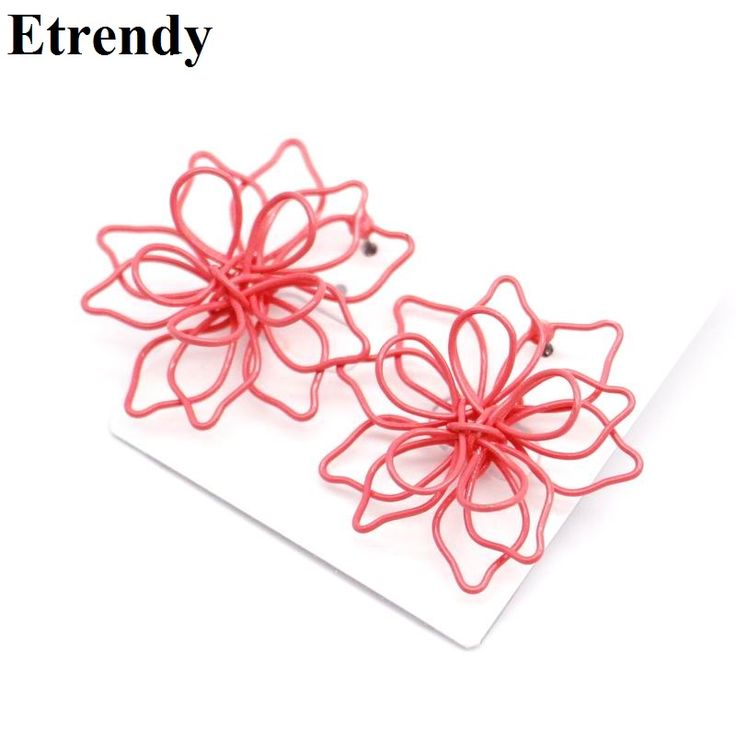 Candy colors big flower stud earrings for women bijoux hollow out 2017 new Spring Summer Hot Selling Trendy Jewelry Wholesale