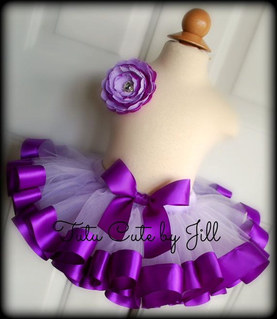 Sewn Light Purple Tutu With Dark Purple Satin Ribbon Trim. Birthday, Pageant, Halloween Costume, Photo Shoot and More! By: Tutu Cute By Jill