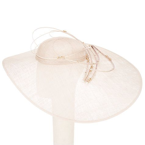 Buy John Lewis Joy Large Brim Diamante Disc Occasion Hat, Champagne Online at johnlewis.com