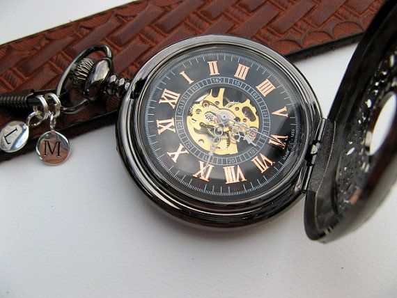 Personalized Black Mechanical Pocket Watch, Watch Chain, 2 Silver Letter Charms - Groomsmen Gift - Item MPW704-SSPC